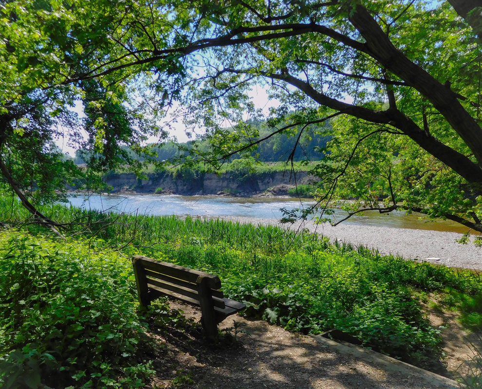 Chagrin River Park - river - trees - bench - photo by Linda Lowe