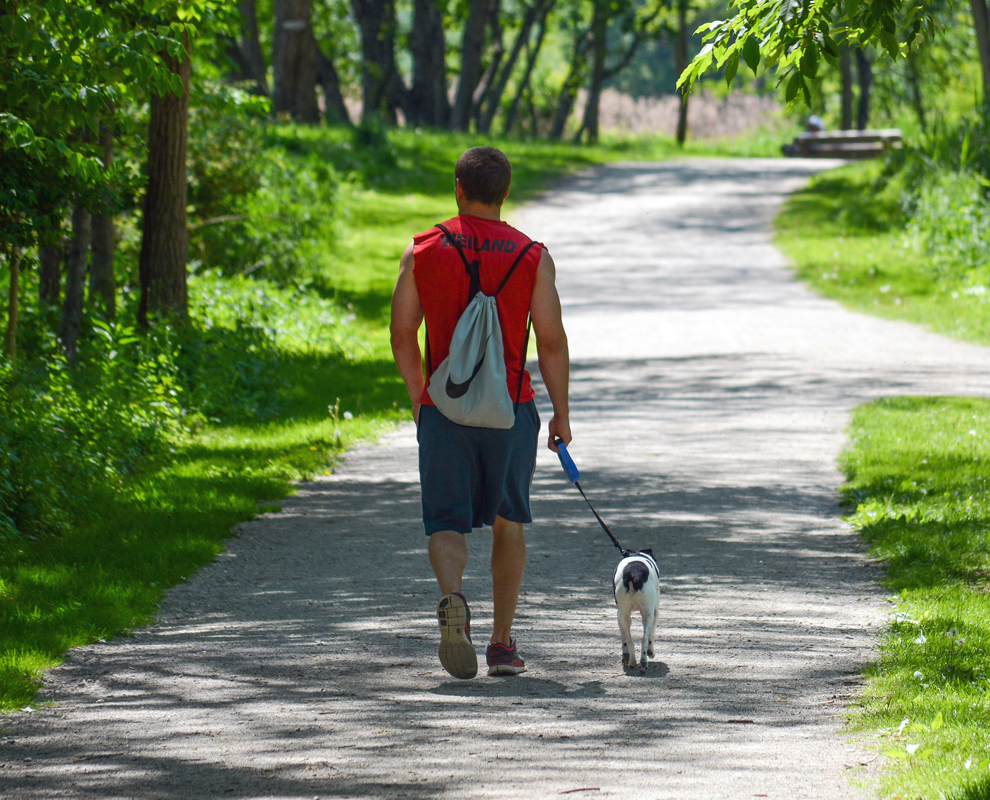 Chagrin River Park - man walking dog - trail - trees - photo by Al Miller