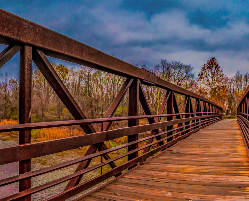 Chagrin River Park - river - bridge - trees - fall colors - Lake Metroparks - photo by Jim Marquardt