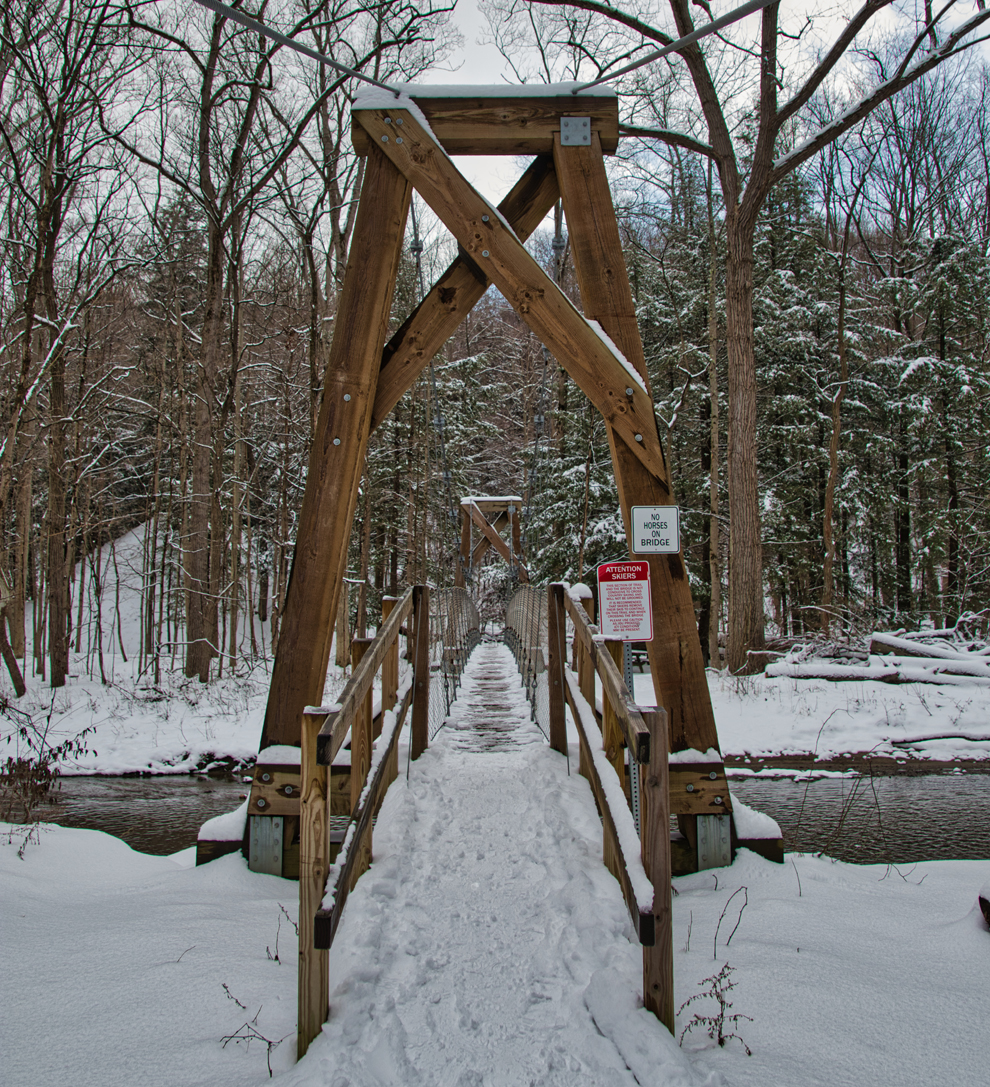 Girdled Road Reservation - park - suspension bridge- trail - fall - Lake Metroparks - photo by Kevin Vail