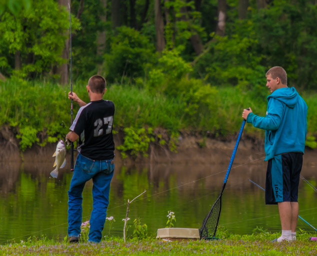 Grand River Landing - park - fishing - trees - fishermen - Lake MetroparksJim Marquardt