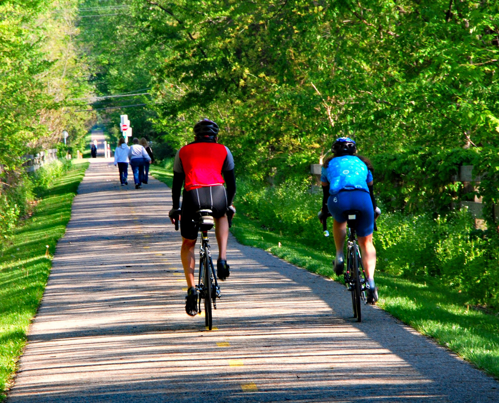 Greenway Corridor - park - trail - bike - hike - bikers - fence - trees - Lake Metroparks - photo by JD Cow