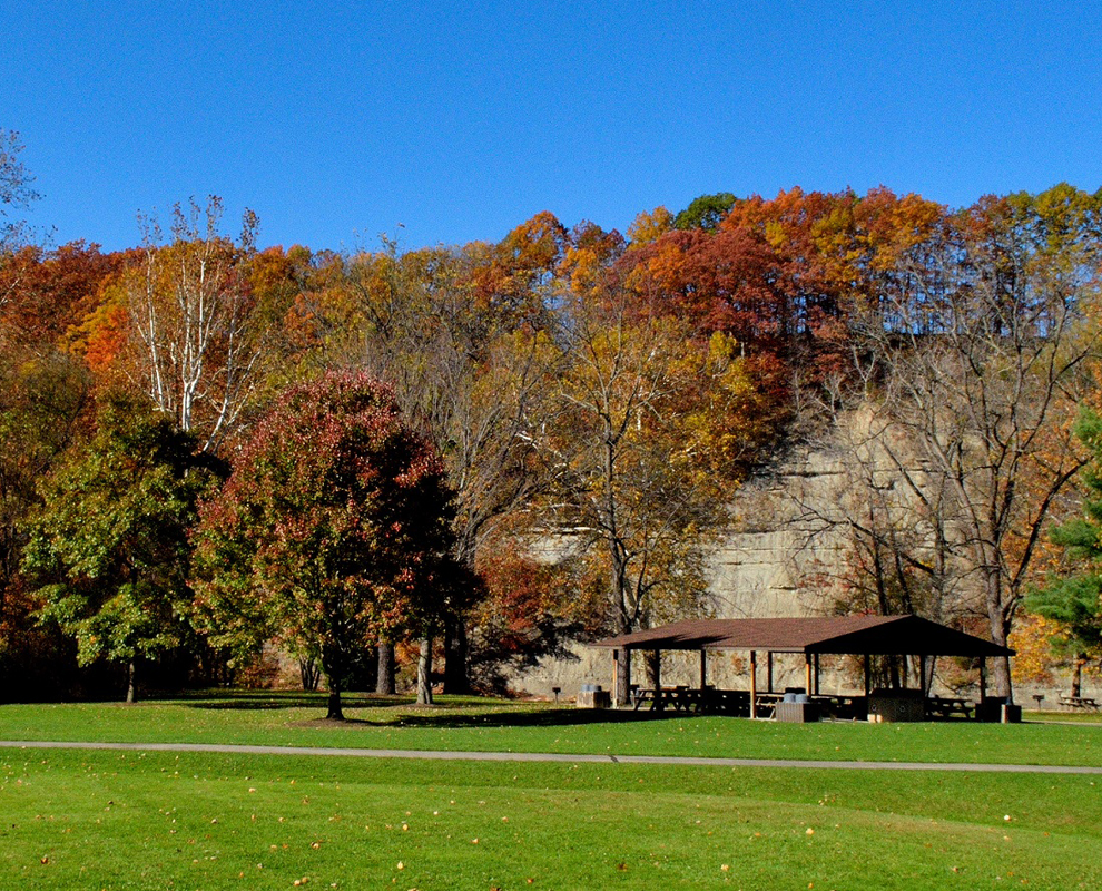 Hidden Valley Park - trees - fall color - river valley - shelter - Lake Metroparks - Jim Marquardt