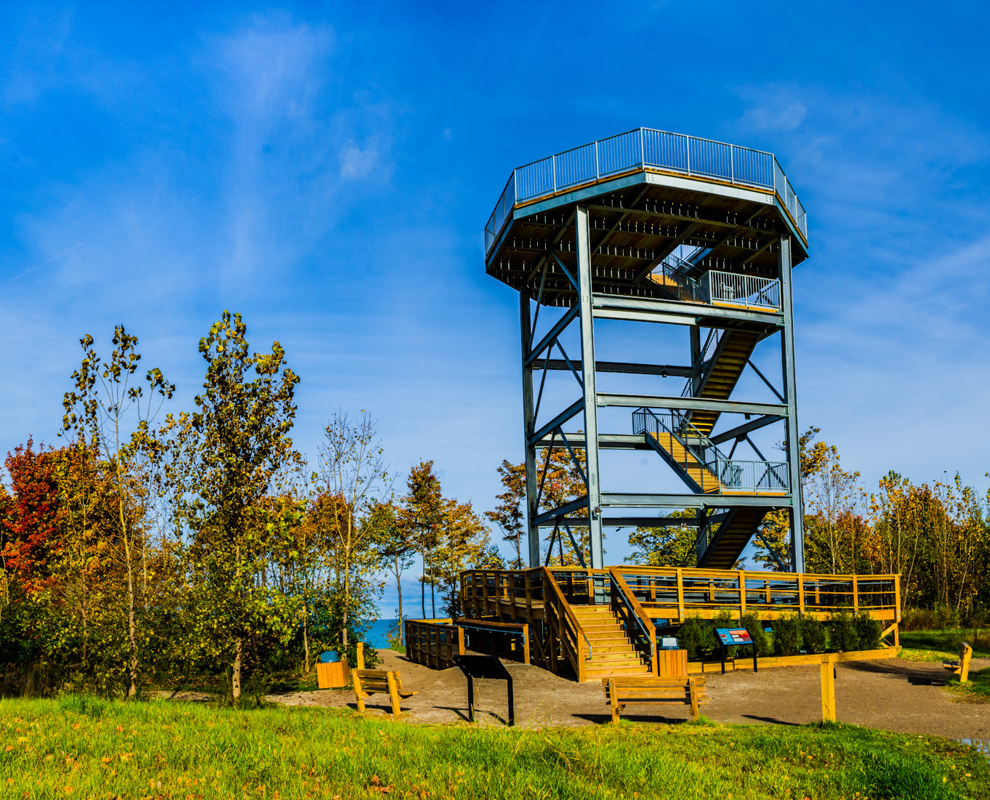 Lake Erie Bluffs - park - observation tower - fall colors - trees - Lake Metroparks - Jim Marquardt