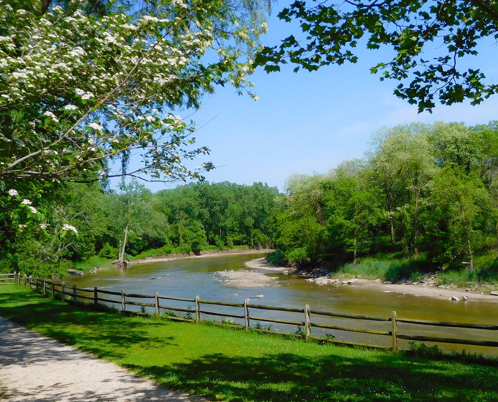 Chagrin River Park - river - trees - bench - Lake Metroparks - photo by Linda Lowe