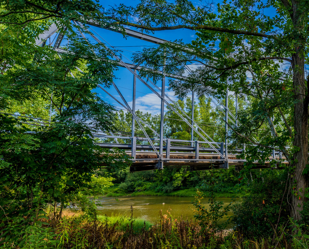 Pleasant Valley Park - bridge - trees - Chagrin River - Lake Metroparks - Photo by Jim Marquaardt